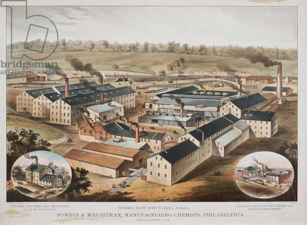 View of Powers & Weightman Manufacturing Chemists Works at East Schuylkill Falls, Philadelphia, c.1870 (chromolitho)