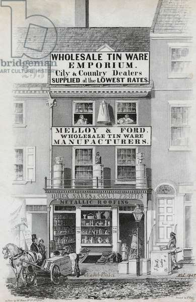 Melloy & Ford, wholesale tin ware manufacturers, printed by Frederick Kuhl, March 1849 (litho)