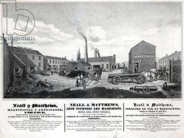 Neall & Matthews, iron founders and machinists, Bush Hill Iron Works, printed by Frederick Kuhl, c.1853 (litho)