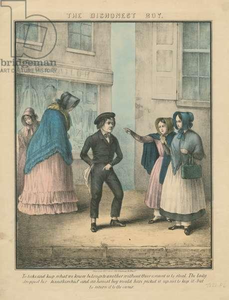 The dishonest boy, c.1850 (hand-coloured litho)