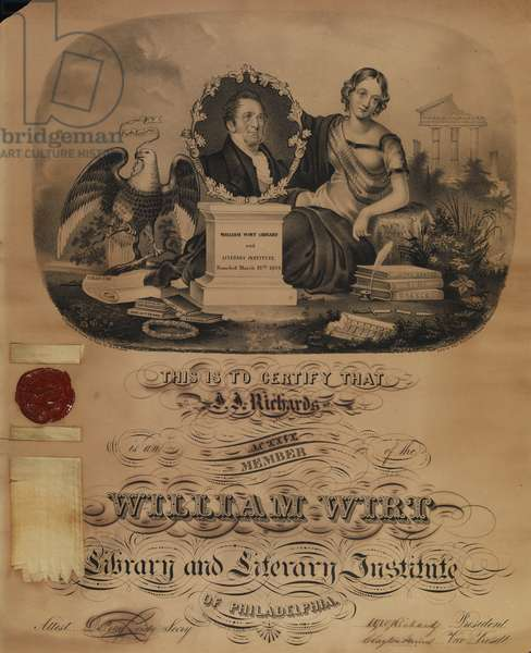 William Wirt Library and Literary Institute of Philadelphia certificate, c.1843 (litho)