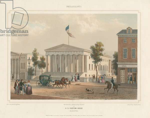 U.S. Custom House (formerly U.S. Bank), printed by F.L. Cattier, c.1848 (tinted & hand-coloured litho)