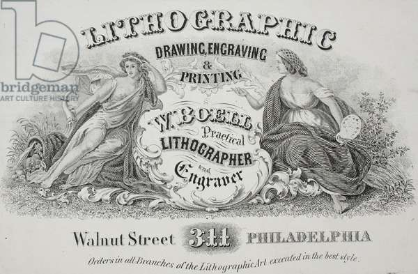 W. Boell, practical lithographer and engraver, 311 Walnut Street Philadelphia, c.1863 (litho mounted on album page)