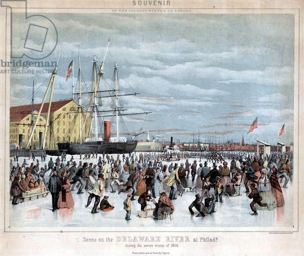 Souvenir of the coldest winter on record, Scene on the Delaware River at Philada. during the severe winter of 1856, printed by P.S. Duval & Co., 1856 (chromolitho)