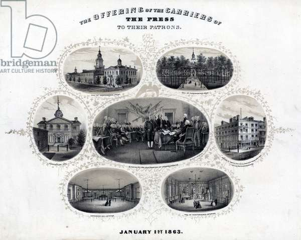 The offering of the carriers of the press to their patrons, printed by Bowen & Co., 1862 (litho tinted with one stone)