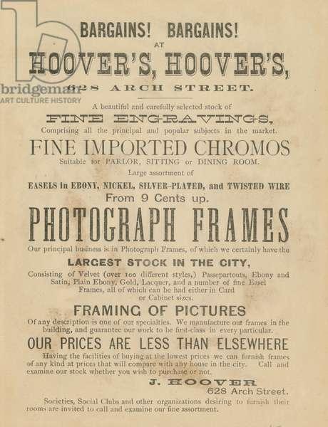 J. Hoover, pictures and frames, 628 Arch St., Philadelphia, c.1880 (chromolitho)