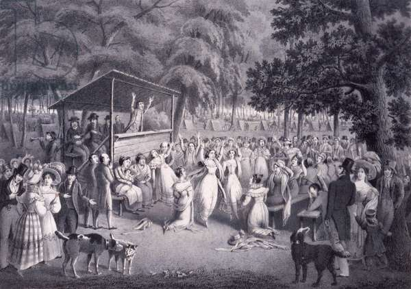 Camp Meeting, c.1830 (litho)