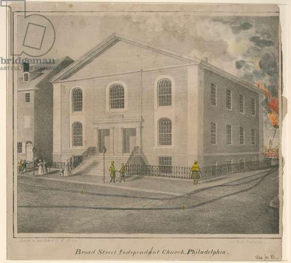 Broad Street Independant [sic] Church, Philadelphia, c.1850 (hand-coloured litho)