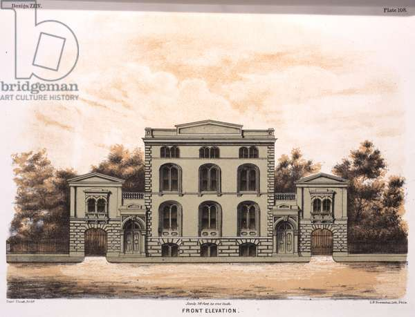 Front elevation, printed by Louis N. Rosenthal, 1867 (hand-coloured litho)