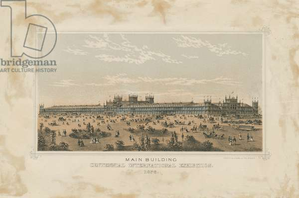 Main Building, Views of Centennial Exhibition buildings, c.1876 (stone tinted litho)