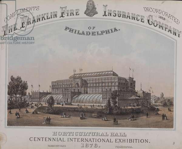 Horticultural Hall, 1878 Centennial International Exhibition, Fairmont Park, Philadelphia, printed by Thomas Hunter, c.1874 (litho)