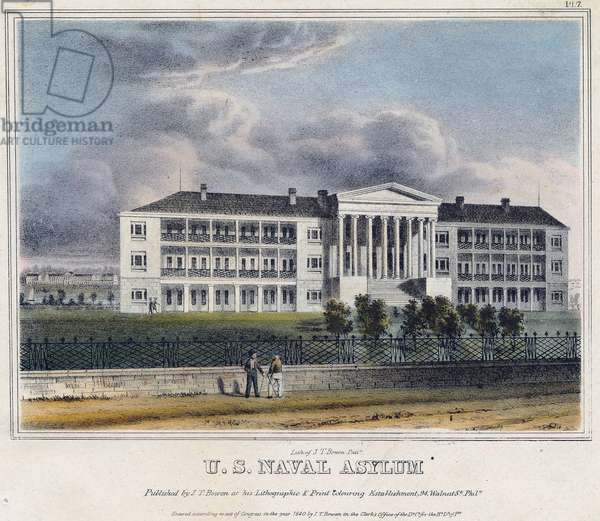 U. S. Naval Asylum, printed by John T. Bowen (1801-56), c.1840 (hand-coloured litho)