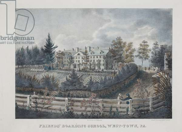 Friends' boarding school, West-town, Pennsylvania, print made by J.T. French, c.1848 (litho)