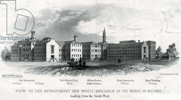 View of the department for white children of the House of Refuge, printed by P.S. Duval & Son, 1858 (litho)