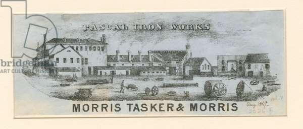 Pascal Iron Works, Morris Tasker & Morris, 1847 (pen & etched litho)