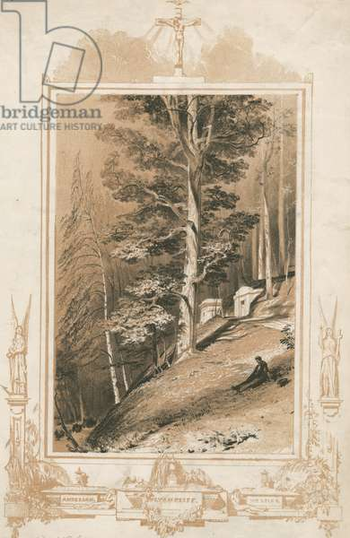 Views of a cemetery, c.1855 (tinted litho)