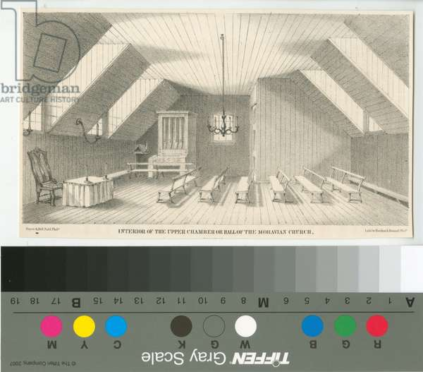 Interior of the upper chamber or hall of the Moravian Church, of 1742, printed by Herline & Hensel, 1857 (litho)