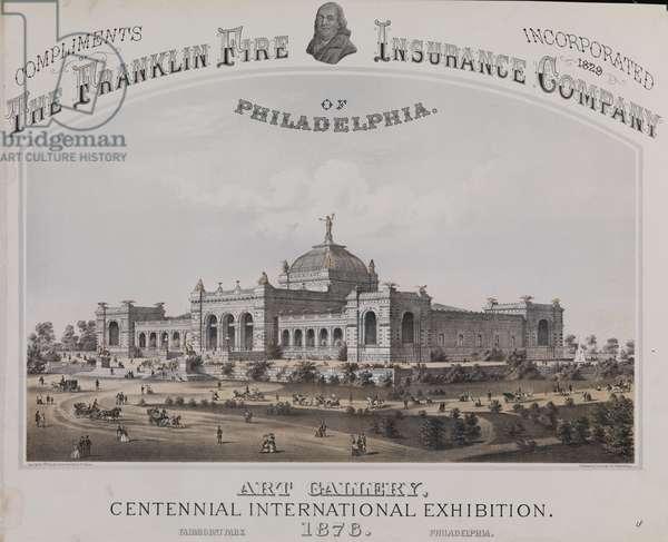 Art Gallery, 1876 Centennial International Exhibition, Fairmont Park, Philadelphia, printed by Thomas Hunter, c.1874 (litho)