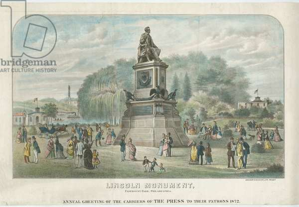 Lincoln Monument, Fairmount Park, Philadelphia, 1872 (hand-coloured litho)