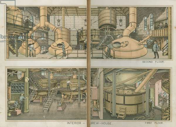 Interior of the Brew House, The Bergner & Engel Brewing Co., Philadelphia, c.1890 (chromolithograph)