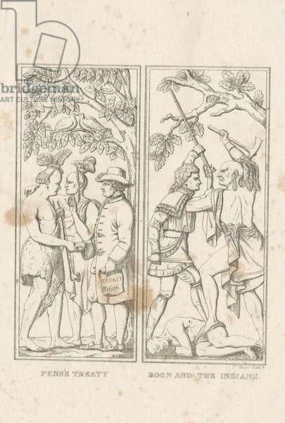 Penn's Treaty; Boon and the Indians, 1839 (litho)