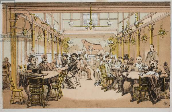 Detail from circular of views of the interior of a concert hall and saloon, probably F. & L. Ladner's Military Hall, 528-532 North Third St. Philadelphia, printed by Stein & Jones, c.1865 (litho mounted on album page)