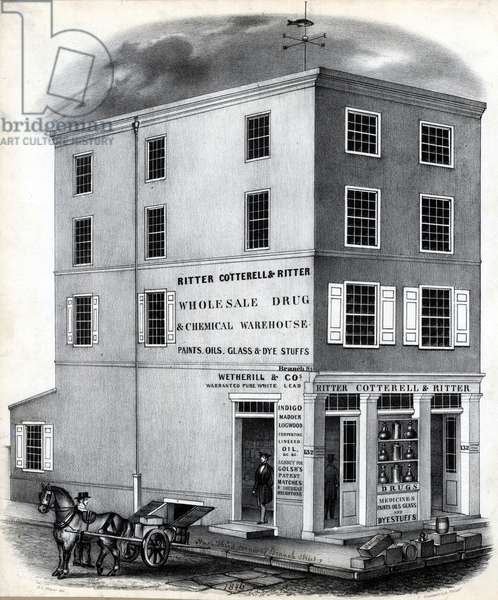 Ritter Cotterell & Ritter wholesale drug & chemical warehouse, printed by Thomas S. Sinclair (c.1805-1881), December 1846 (litho)