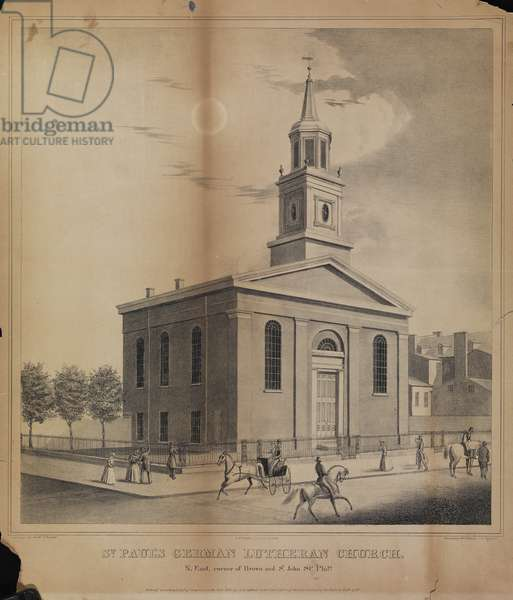 St. Paul's German Lutheran Church. N. East, corner of Brown and St. John sts., Phila., printed by Peter S. Duval (c.1804-1886), c.1840 (litho)