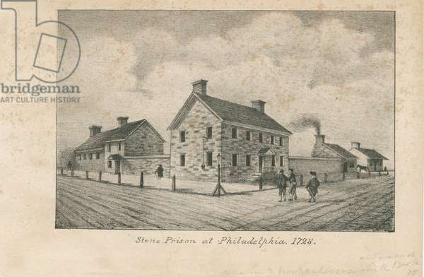 Stone Prison at Philadelphia, 1728, 1830 (litho)
