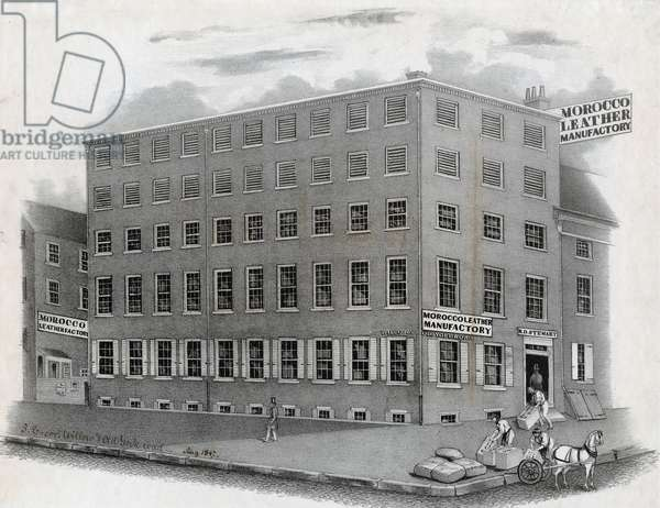 Morocco leather manufactory, B. D. Stewart, S.E. corner of Willow Street and Old York Road, Philadelphia, August 1847 (litho)