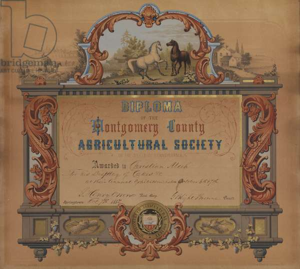 Diploma of the Montgomery County Agricultural Society of the state of Pennsylvania certificate, printed by Thomas S. Sinclair (fl.1805-81), c.1850 (chromolitho)