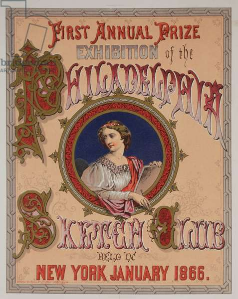 First annual prize exhibition of the Philadelphia Sketch Club held in New York January 1866, printed by Stein & Jones, 1866 (chromolitho mounted on album page)