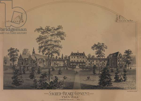 """Sacred Heart Convent, """"Eden Hall."""" Torresdale, Pennsylvania, c.1885 (litho)"""