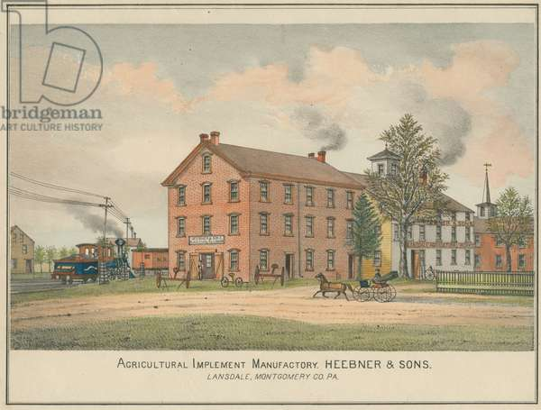 Agricultural Implement Manufactory, Heebner & Sons, Lansdale, Montgomery Co. PA, c.1877 (hand-coloured litho)