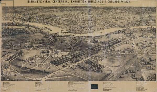 Bird's Eye View, Centennial Exhibition Buildings & Grounds, printed by Sydney Smirke, 1875 (photolitho)