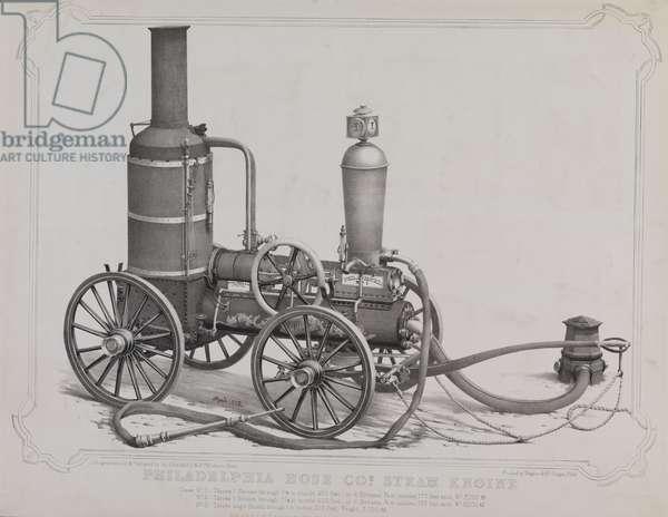 Philadelphia Hose Co. steam engine, printed by Wagner & McGuigan, 1858 (litho)