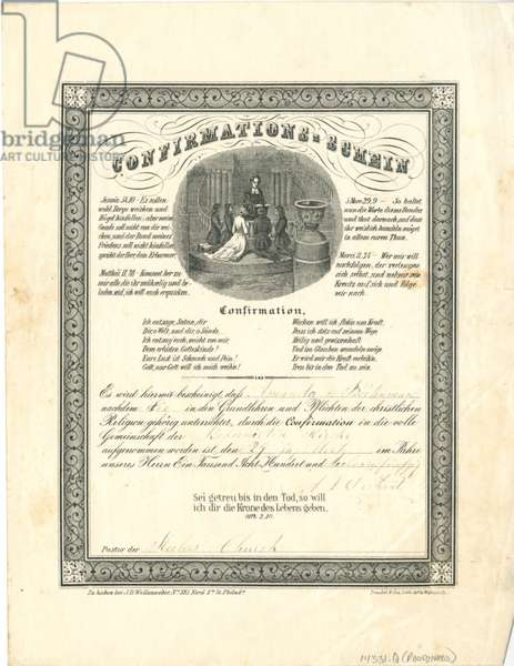 Confirmations - Schein certificate, printed by M. H. Traubel & Co., c.1853 (litho)