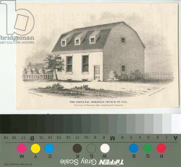 The original Moravian Church of 1742, S.E. corner of Moravian Alley (now Bread St.) & Race St., 1857 (litho)