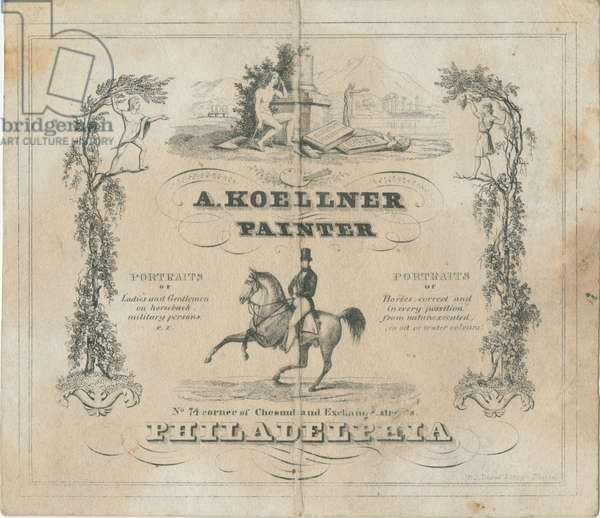 A. Koellner, painter, No. 74 corner of Chestnut and Exchange Streets, Philadelphia, printed by Peter S. Duval (1804-86), 1840 (etched litho)