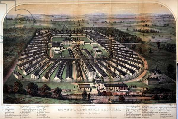 Mower U. S. A. General Hospital, Chestnut Hill, Philadelphia, printed by P.S. Duval & Son, c.1865 (chromolitho)