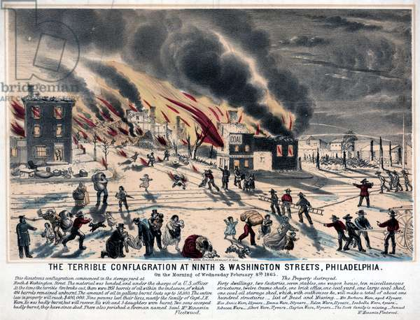 The terrible conflagration at Ninth and Washington Streets, Philadelphia, 1865 (hand-coloured litho)
