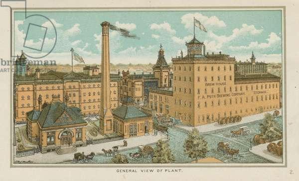 General view of plant, F.A. Poth Brewing Company, Philadelphia, c.1891 (chromolitho)