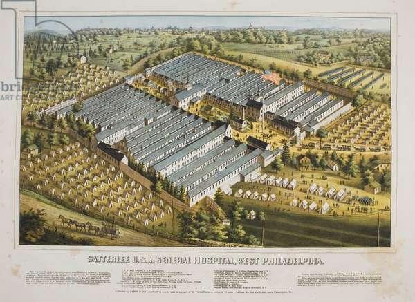 Satterlee U.S.A. General Hospital, West Philadelphia, printed by Charles Magnus, c.1864 (hand-coloured litho)