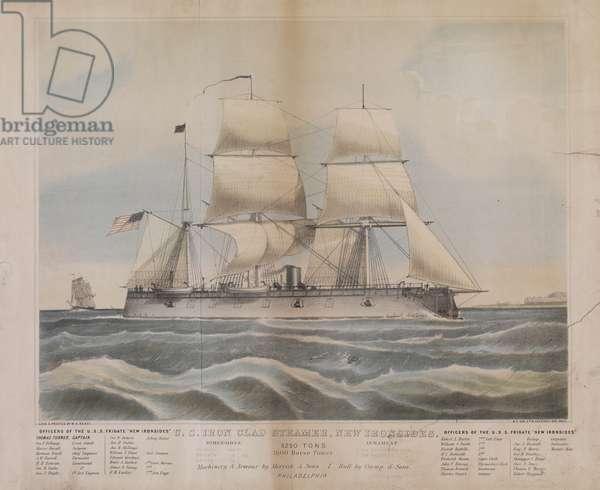 U.S. iron clad steamer, New Ironsides, c.1862 (litho)