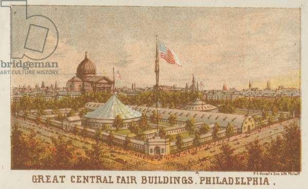 Great Central Fair buildings, Philadelphia, 1864 (chromolitho)