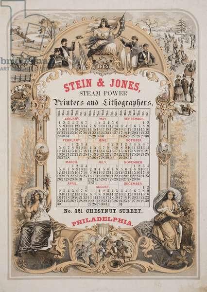 Stein & Jones, steam power printers & lithographers, no. 321 Chestnut Street, Philadelphia, c.1864 (litho tinted with three stones)
