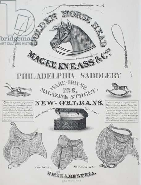 Advertisement for 'Magee, Kneass & Co. Philadelphia Saddlery', c.1860 (litho)