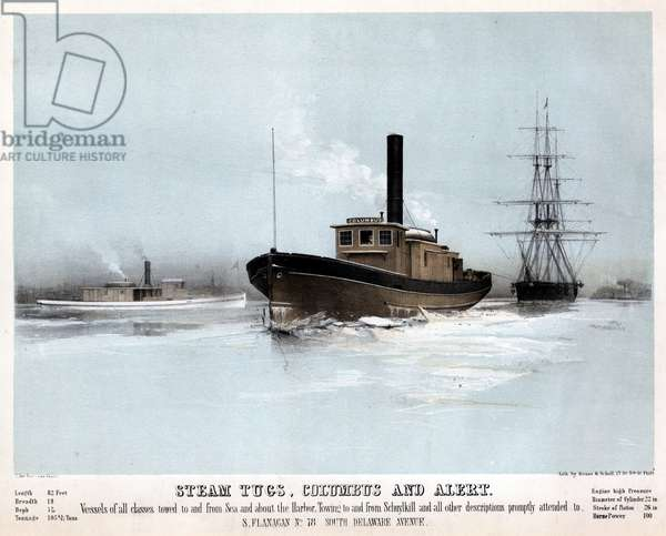 Steam tugs, Columbus and Alert, printed by Thomas S. Sinclair (c.1805-1881), c.1855 (litho tinted with two stones)