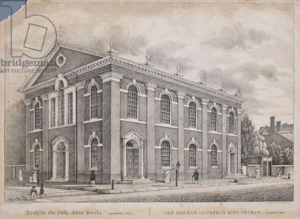 The German Lutheran Zion Church, Philadelphia, print made by William L. Breton, 1829 (litho)
