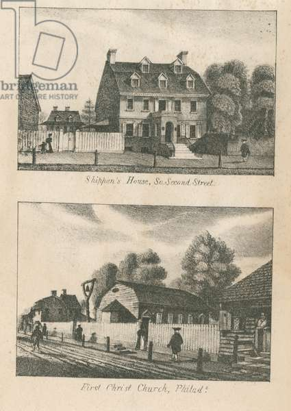 Shippen's House, So. Second Street and First Christ Church, Philadelphia, printed by Kennedy & Lucas's Lithography, 1830 (litho)